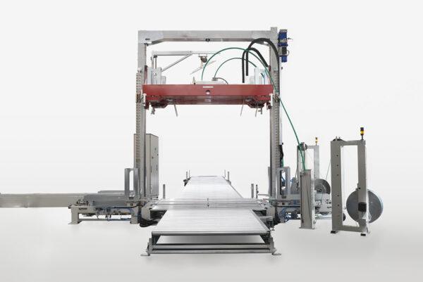 Maşină automată de legat cu bandă, cu compresie verticală