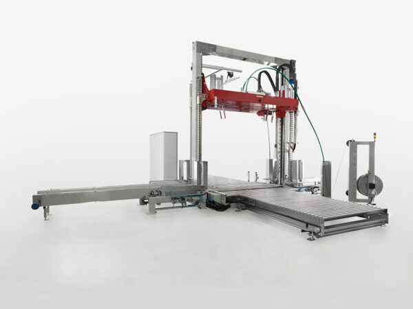 Automatic strapping machine with vertical compression