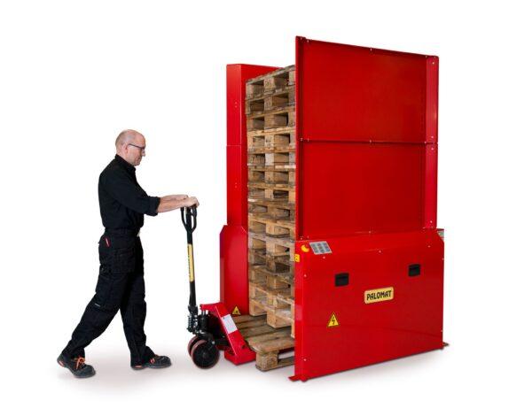 Electric dispenser for 1 pallet 1200×800 or1000 mm- maximum 15 pallets- pallet stacker