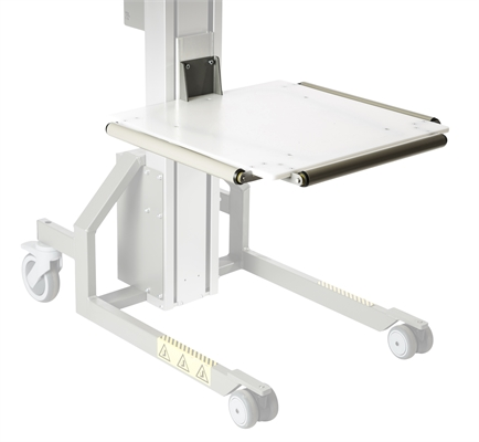 Plastic platform with 3 load rollers