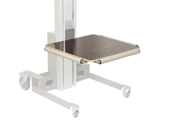 Wooden platform with 3 load rollers