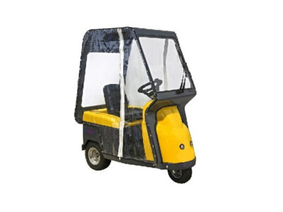 Electric tow tug tractors with platform for operator